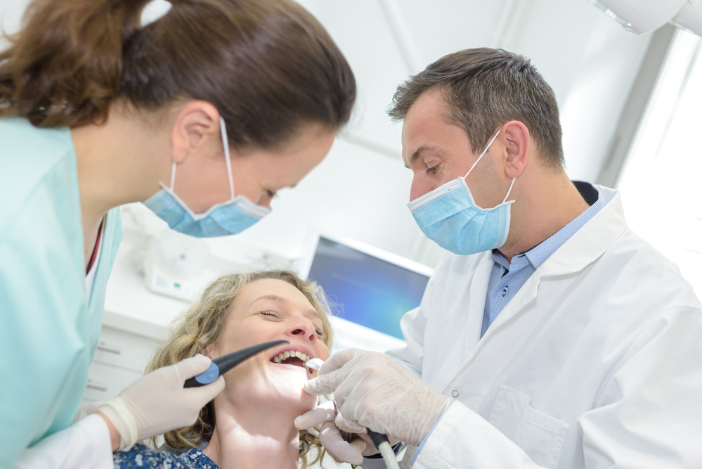 woman laughing with nitrous oxide dental sedation